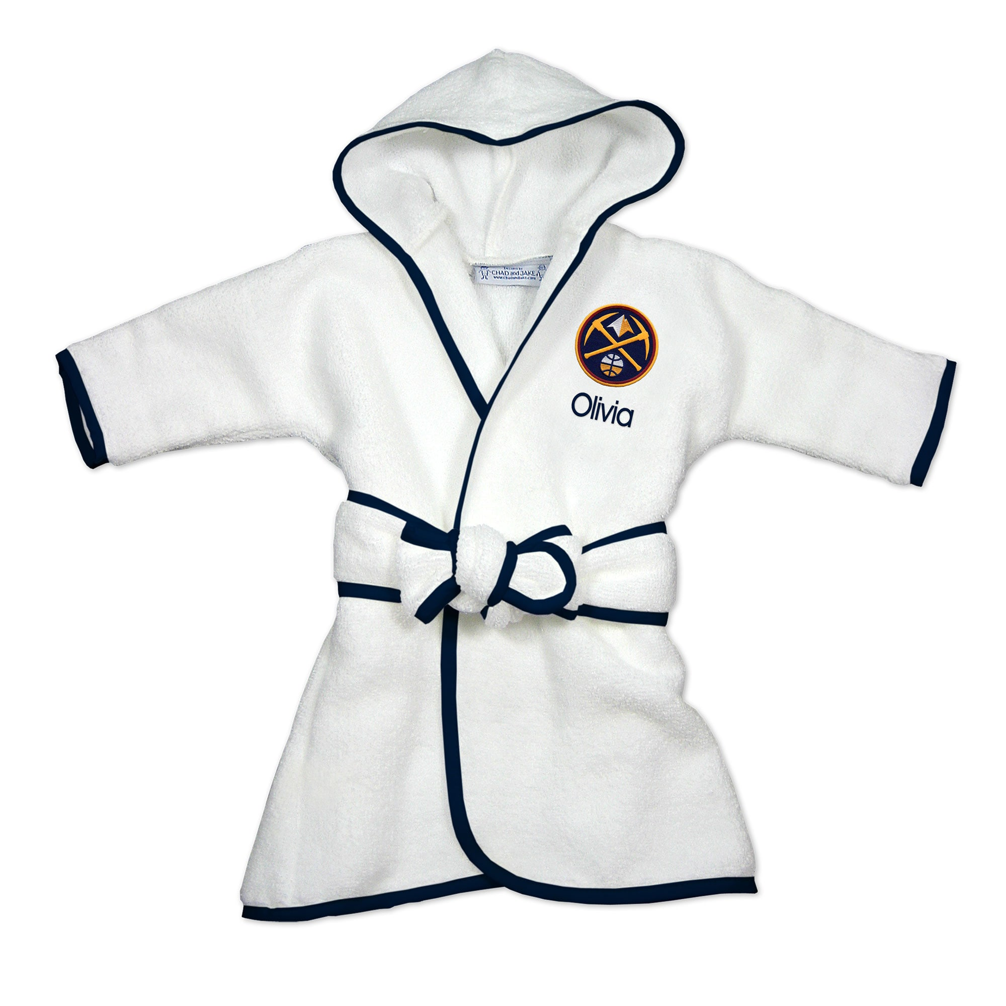 Denver Nuggets Infant Personalized Robe - White