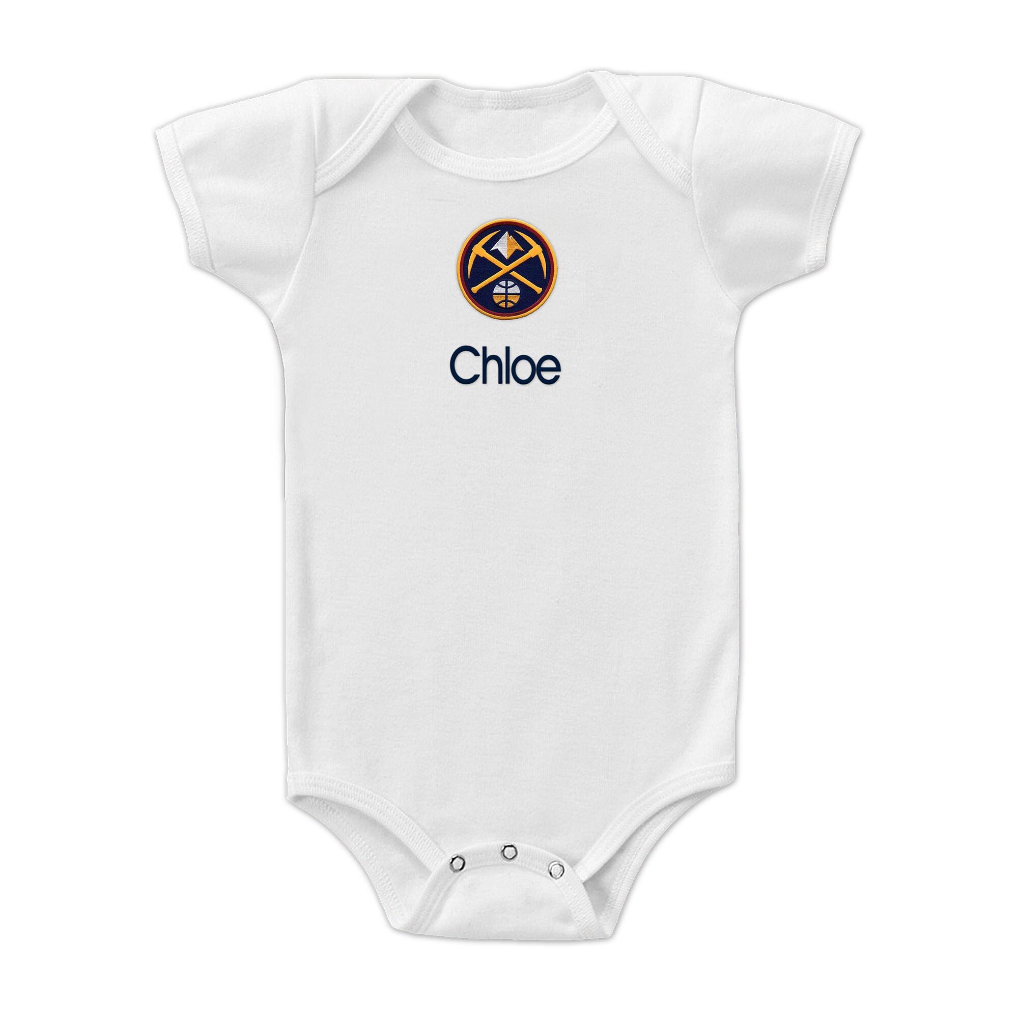 Denver Nuggets Infant Personalized Bodysuit - White