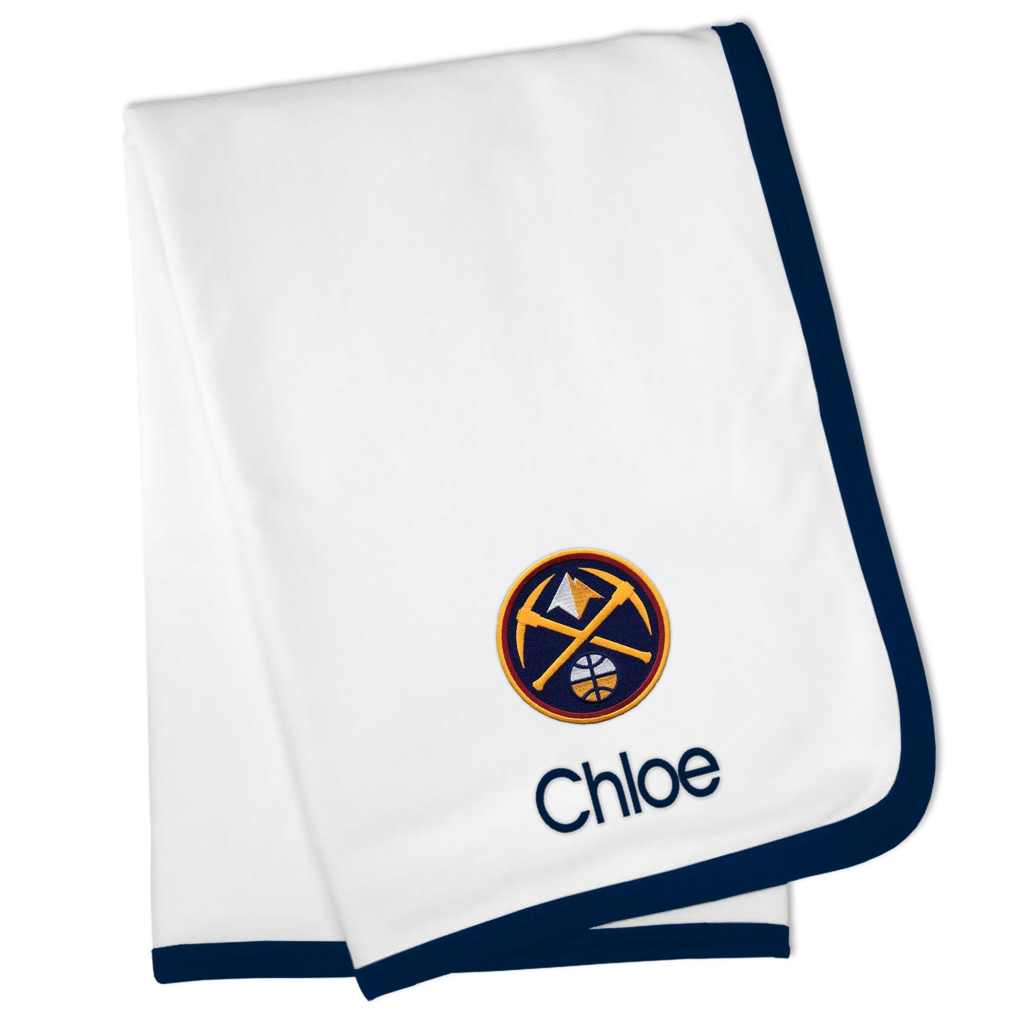 Denver Nuggets Personalized Baby Blanket - White