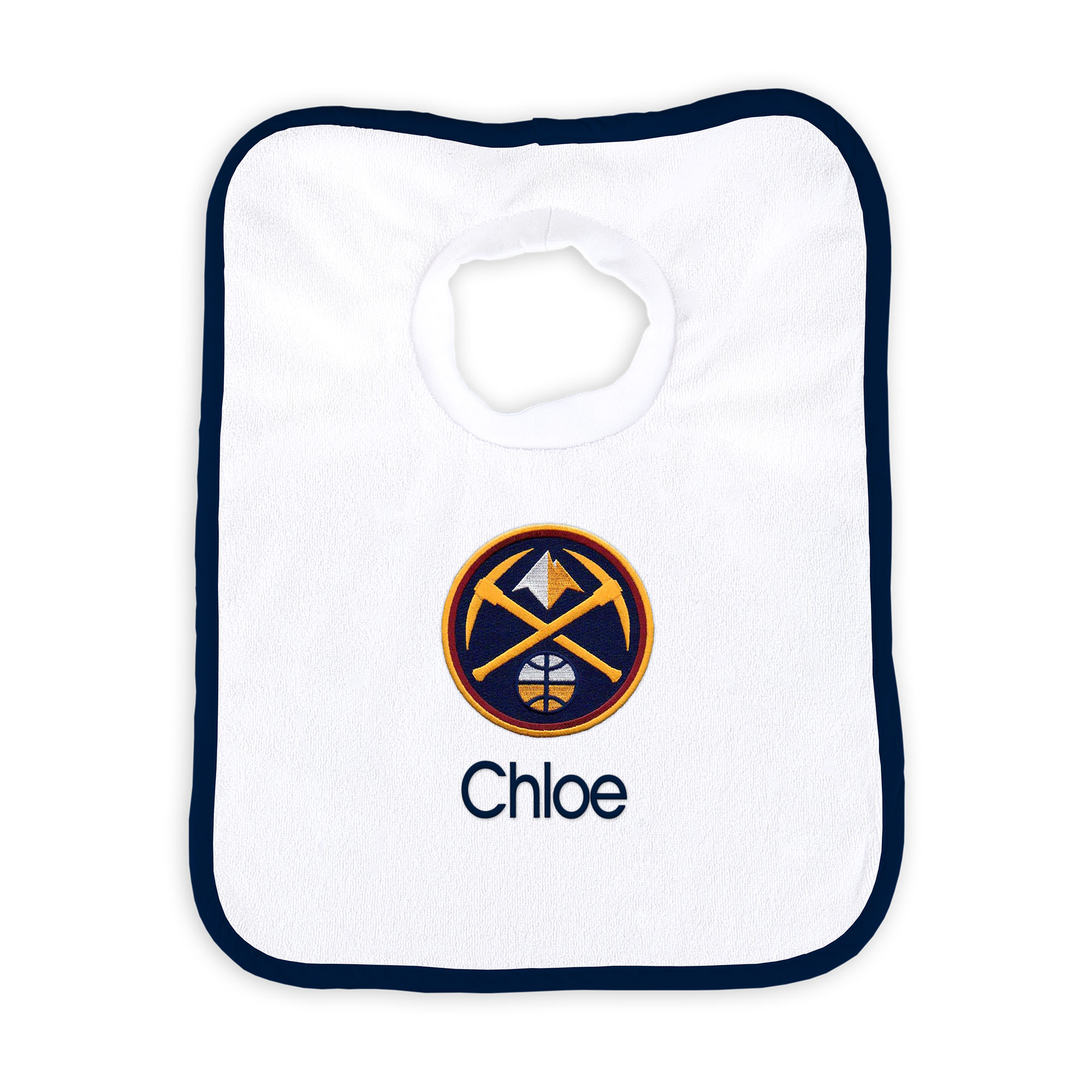 Denver Nuggets Newborn & Infant Personalized Bib - White