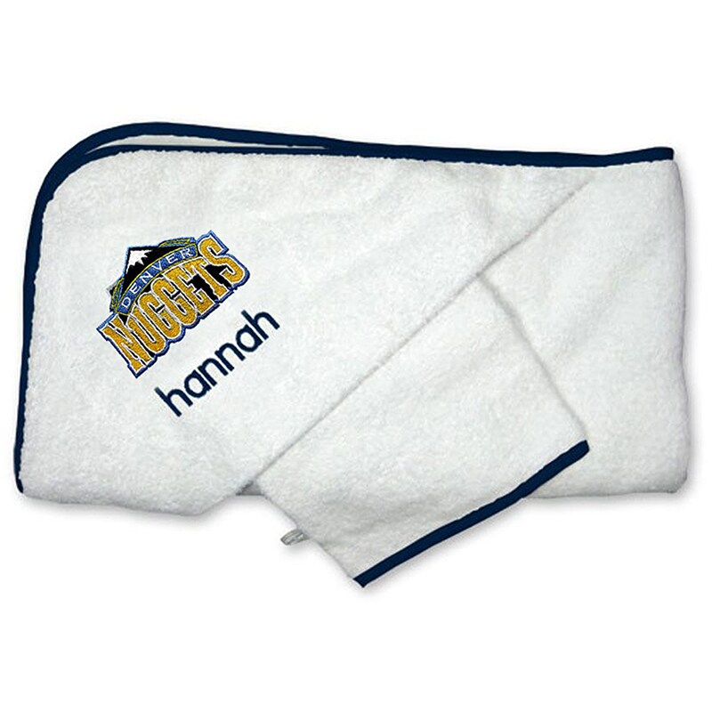 Denver Nuggets Infant Personalized Hooded Towel & Mitt Set - White