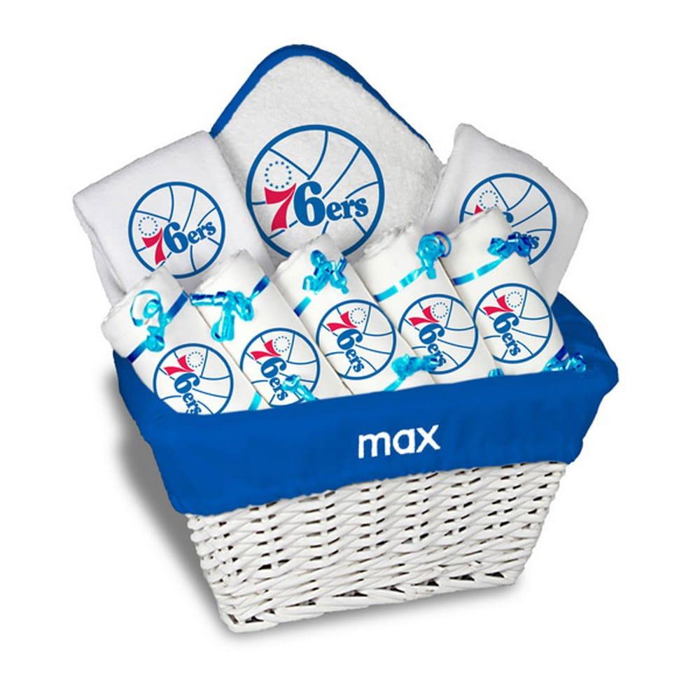 Philadelphia 76ers Newborn & Infant Personalized Large Gift Basket - White
