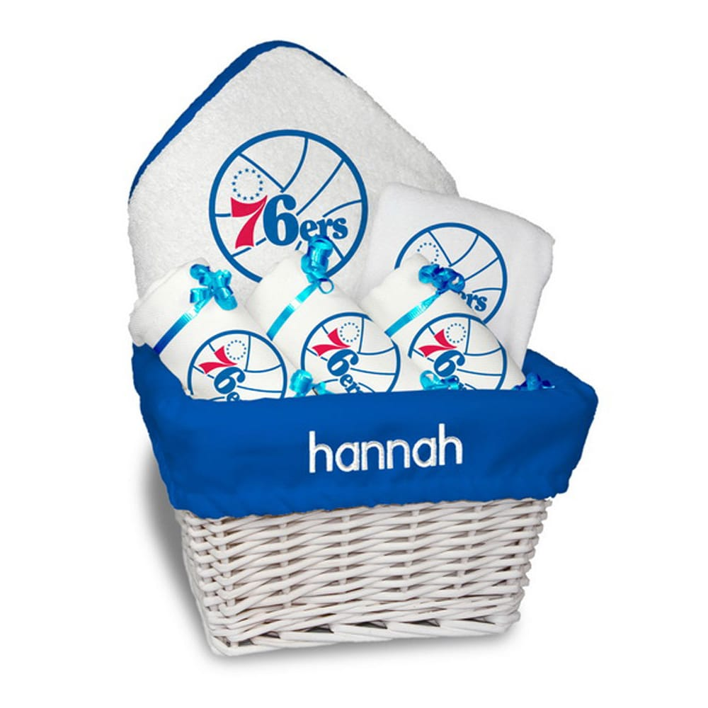 Philadelphia 76ers Newborn & Infant Personalized Medium Gift Basket - White