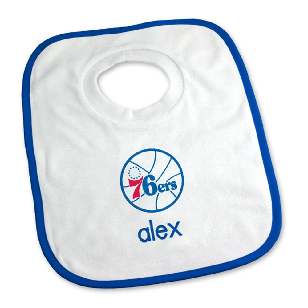 Philadelphia 76ers Newborn & Infant Personalized Bib - White