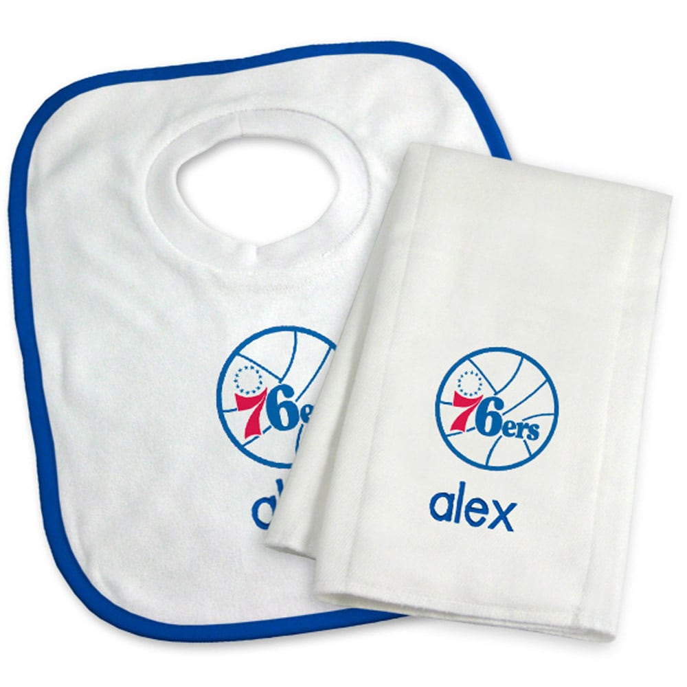 Philadelphia 76ers Newborn & Infant Personalized Bib & Burp Cloth Set - White
