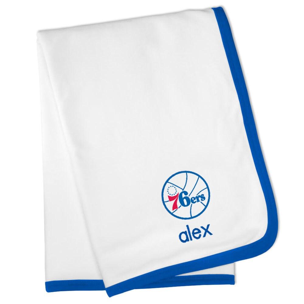 Philadelphia 76ers Personalized Baby Blanket - White