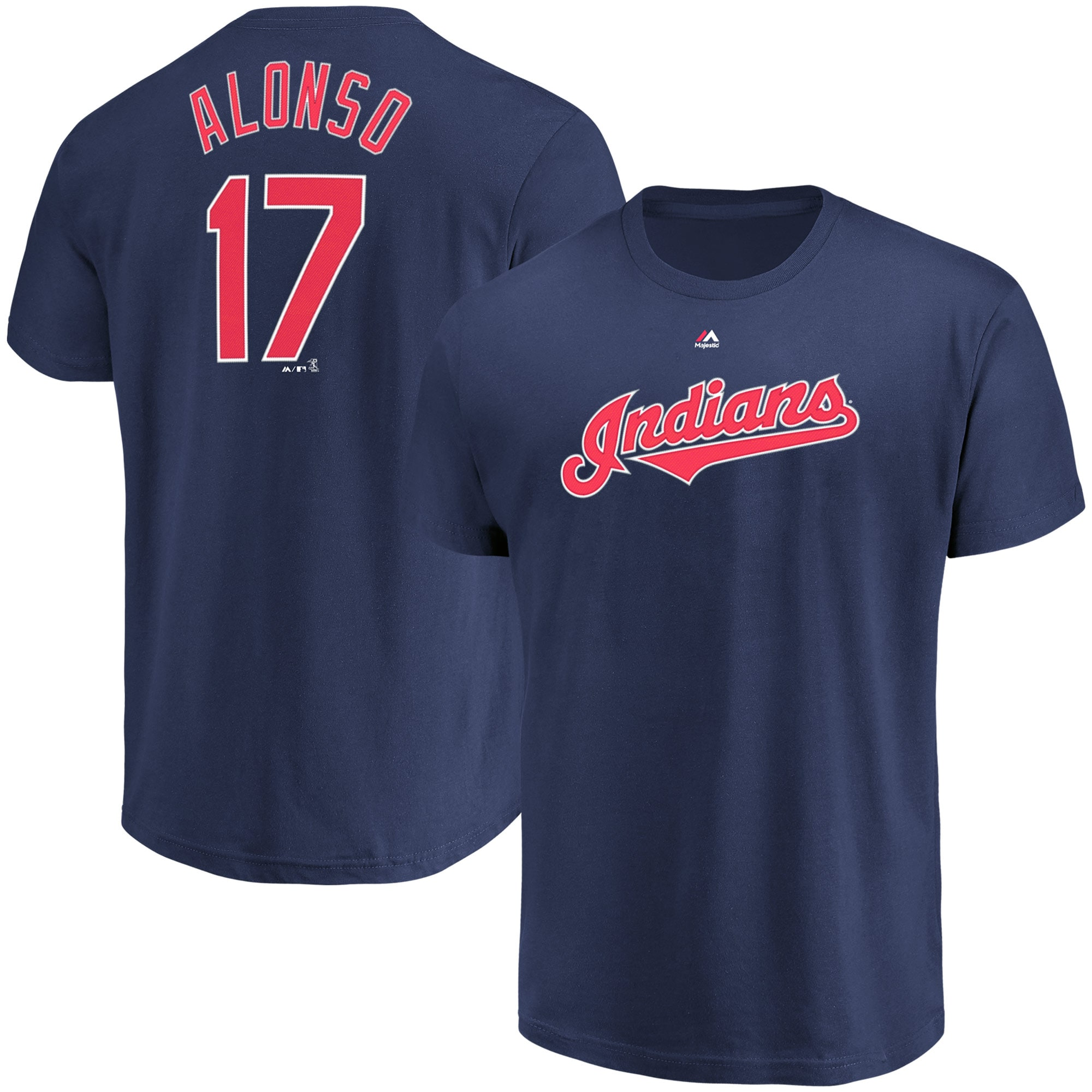 Yonder Alonso Cleveland Indians Majestic Official Name & Number T-Shirt - Navy