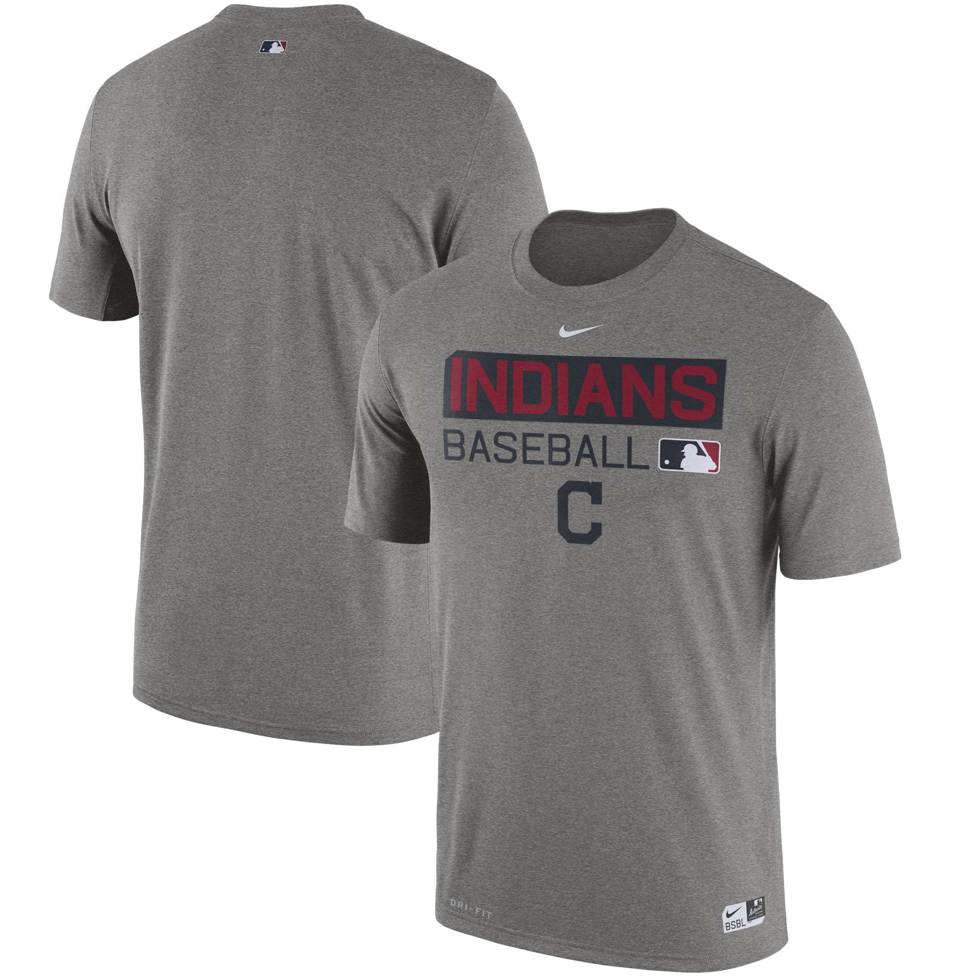 Cleveland Indians Nike Authentic Collection Legend Team Issue Performance T-Shirt - Heathered Gray