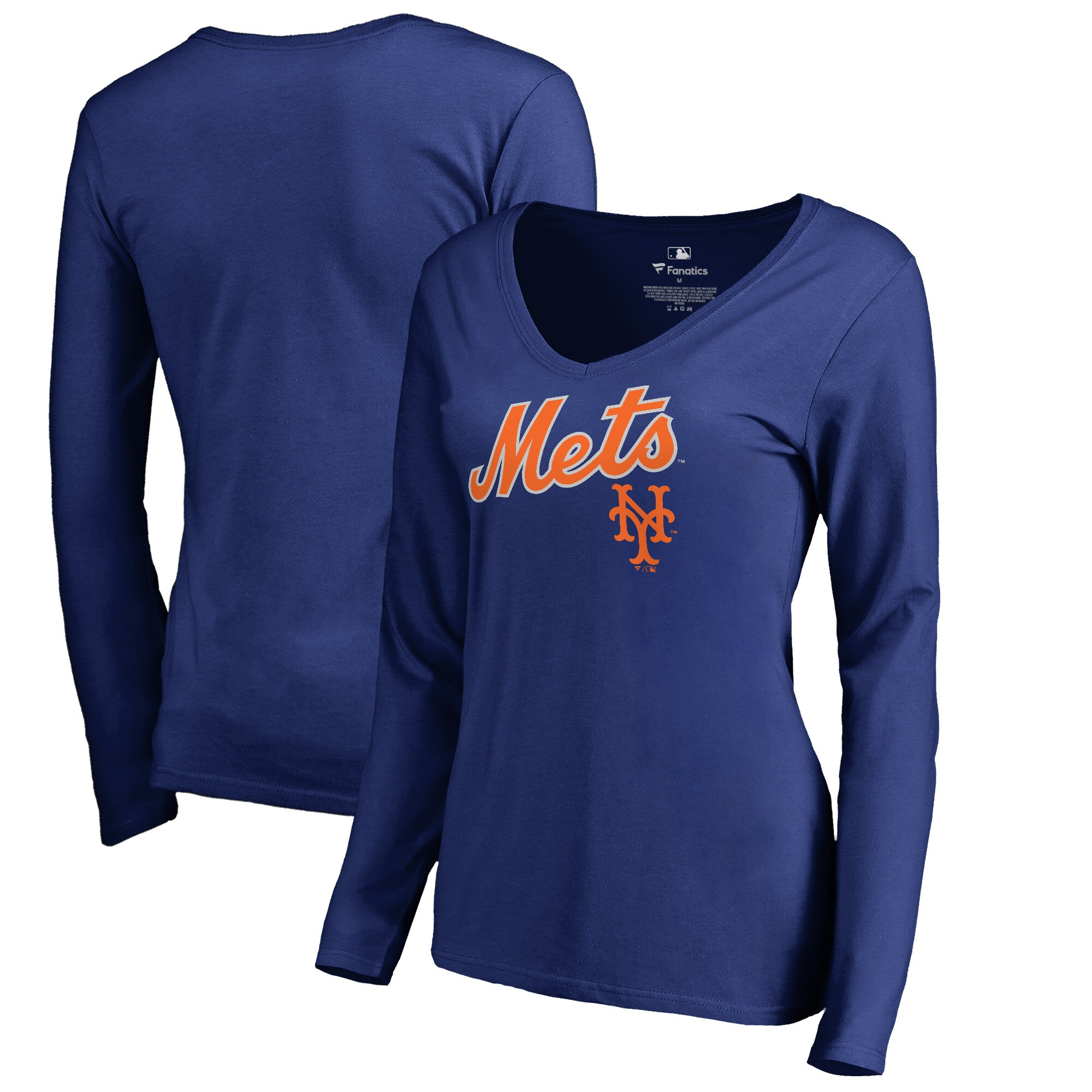New York Mets Fanatics Branded Women's Cooperstown Collection Wahconah Long Sleeve V-Neck T-Shirt - Royal
