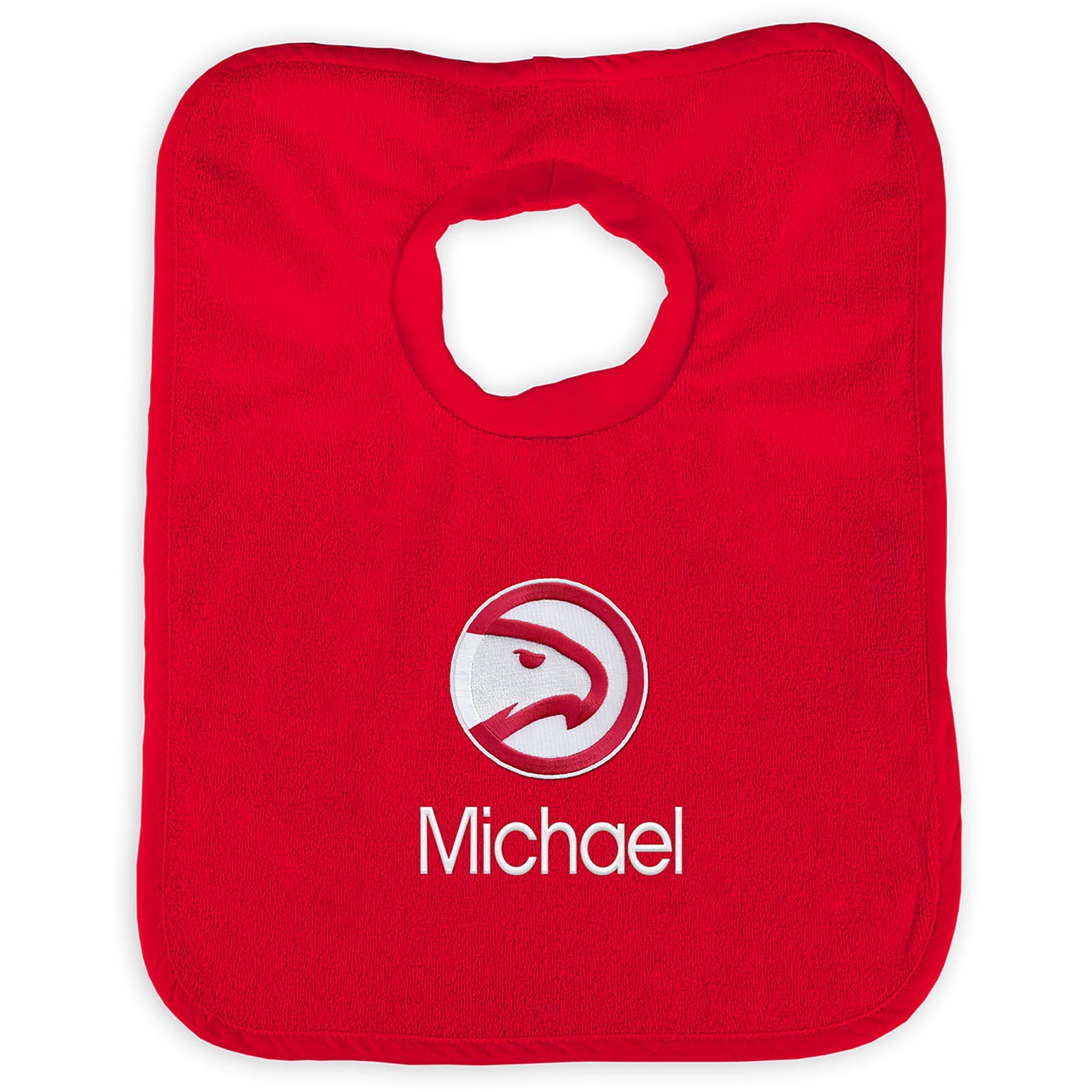 Atlanta Hawks Infant Personalized Bib - Red