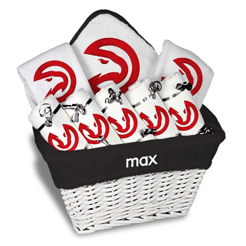 Atlanta Hawks Newborn & Infant Personalized Large Gift Basket - White