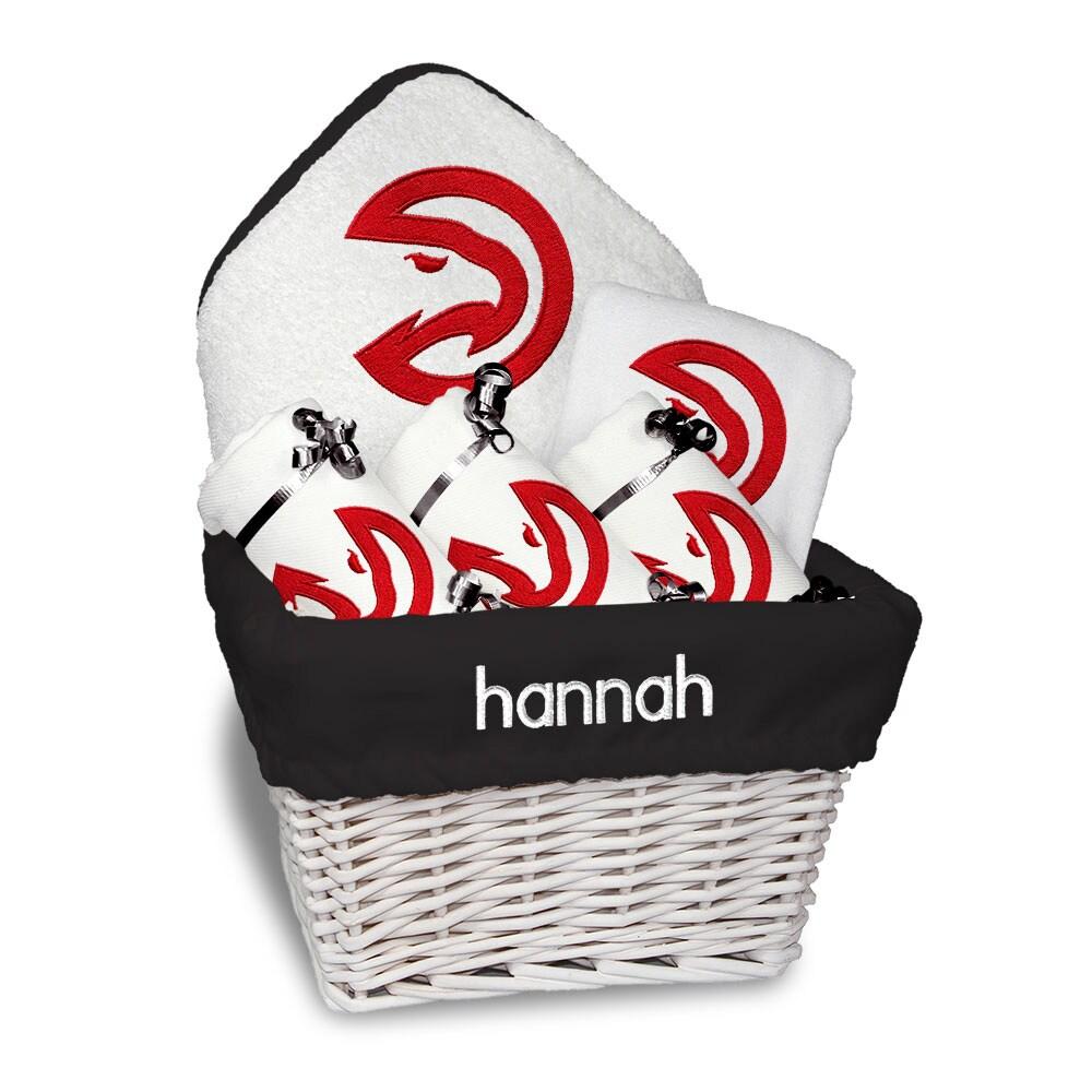 Atlanta Hawks Newborn & Infant Personalized Medium Gift Basket - White