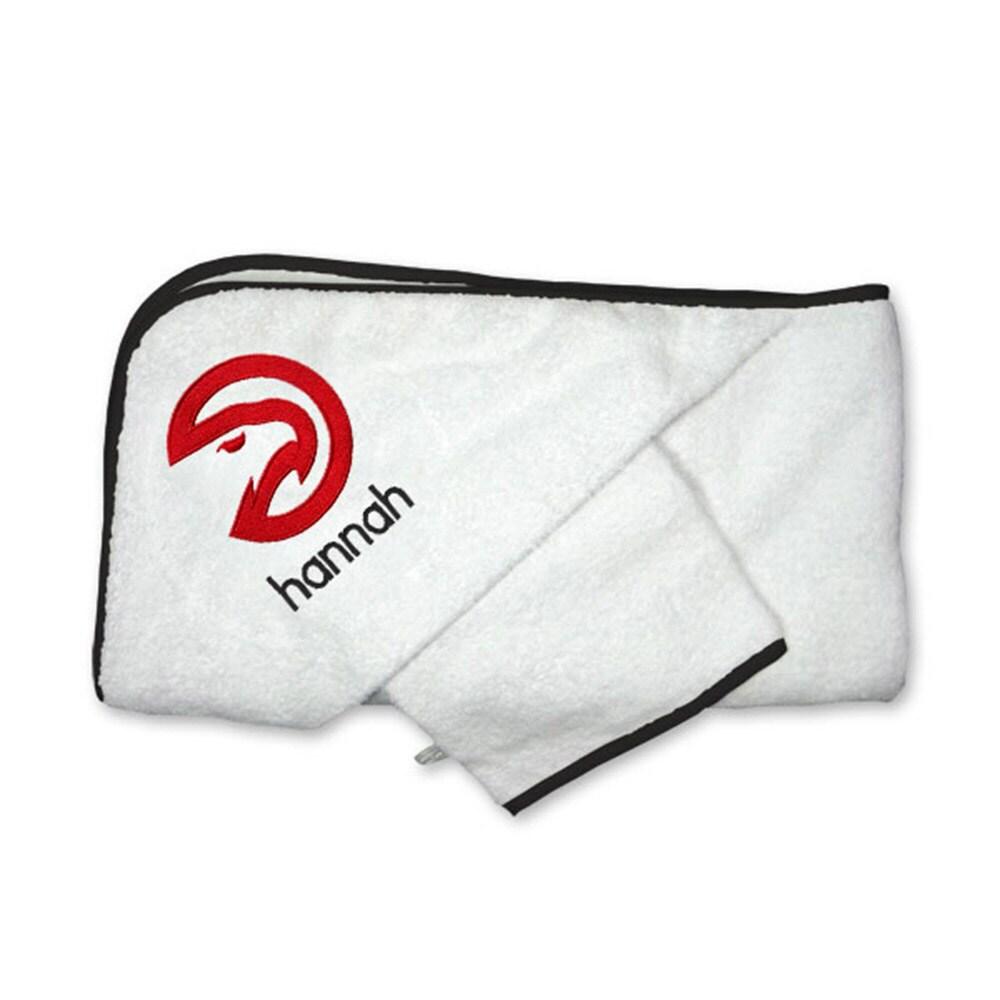Atlanta Hawks Infant Personalized Hooded Towel & Mitt Set - White