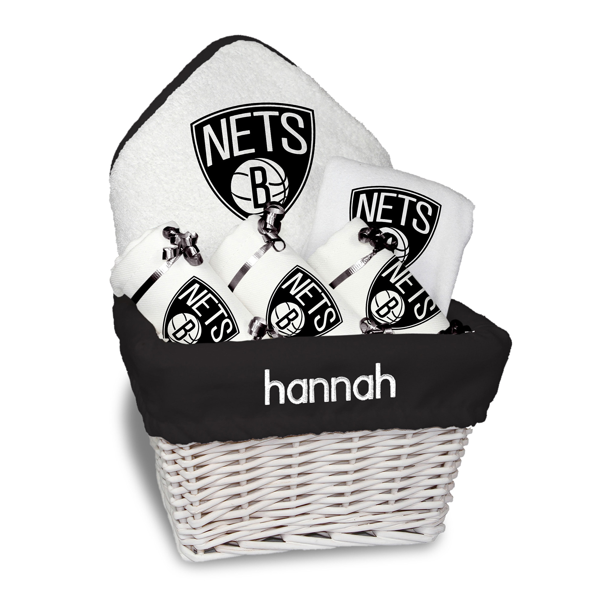 Brooklyn Nets Newborn & Infant Personalized Medium Gift Basket - White