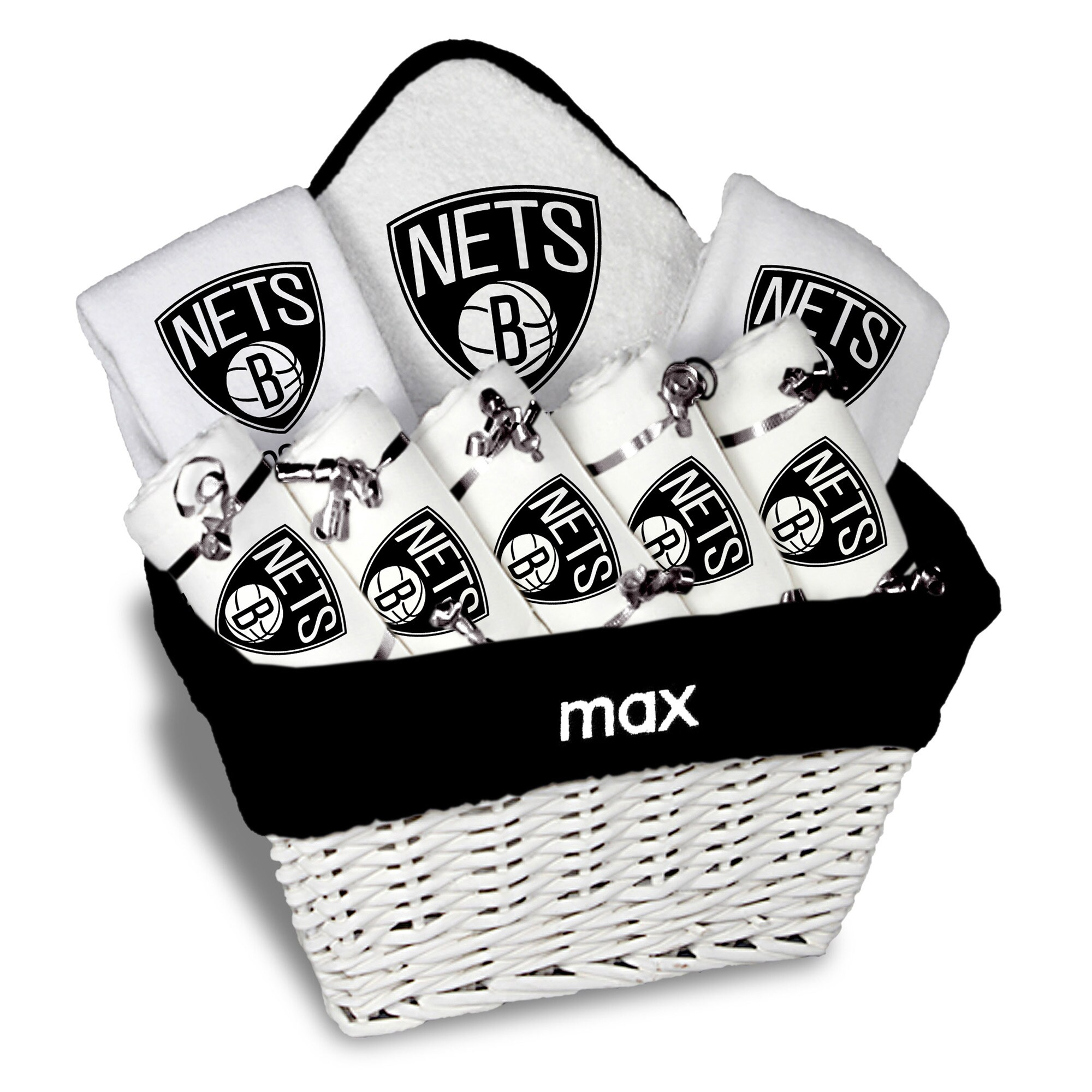 Brooklyn Nets Newborn & Infant Personalized Large Gift Basket - White
