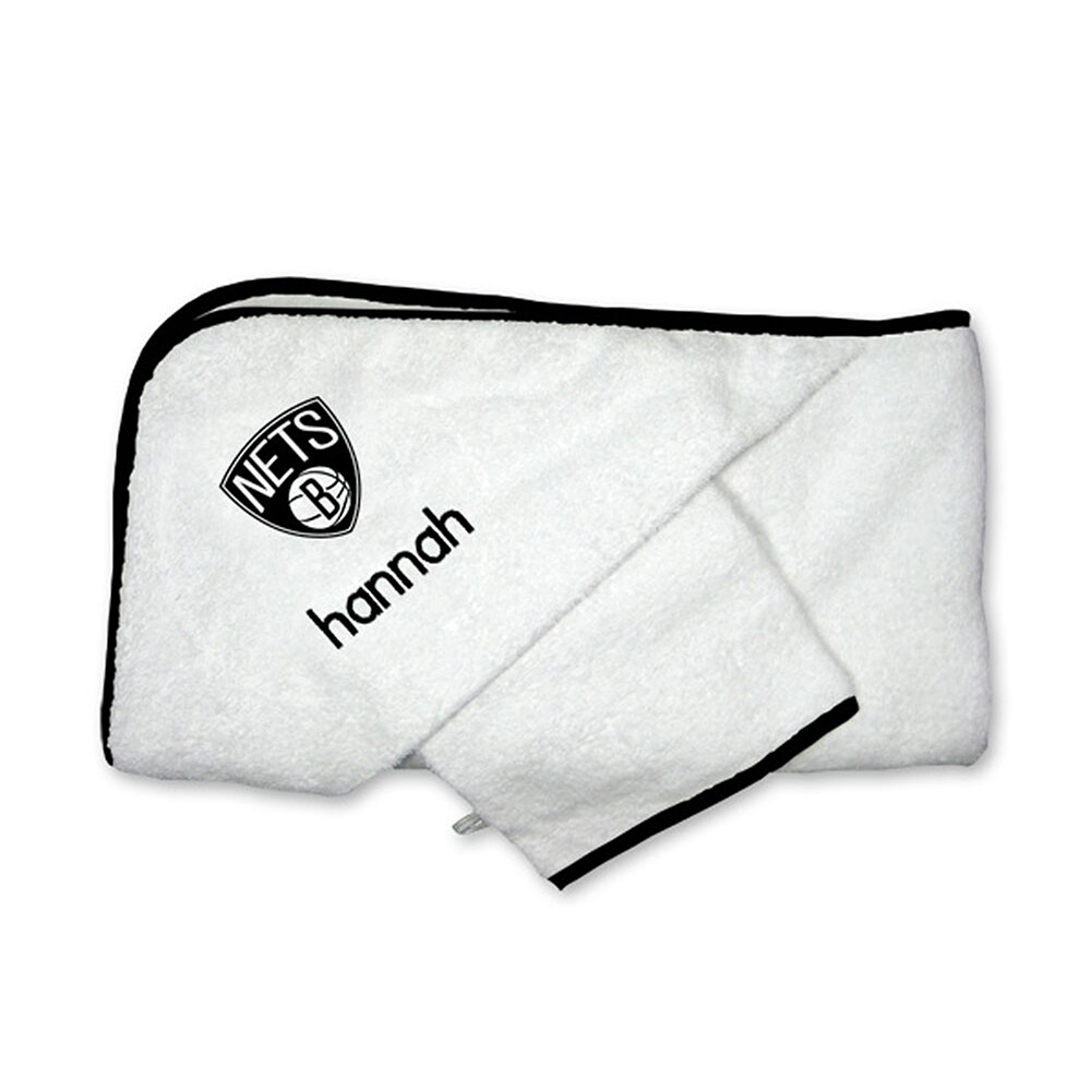 Brooklyn Nets Infant Personalized Hooded Towel & Mitt Set - White