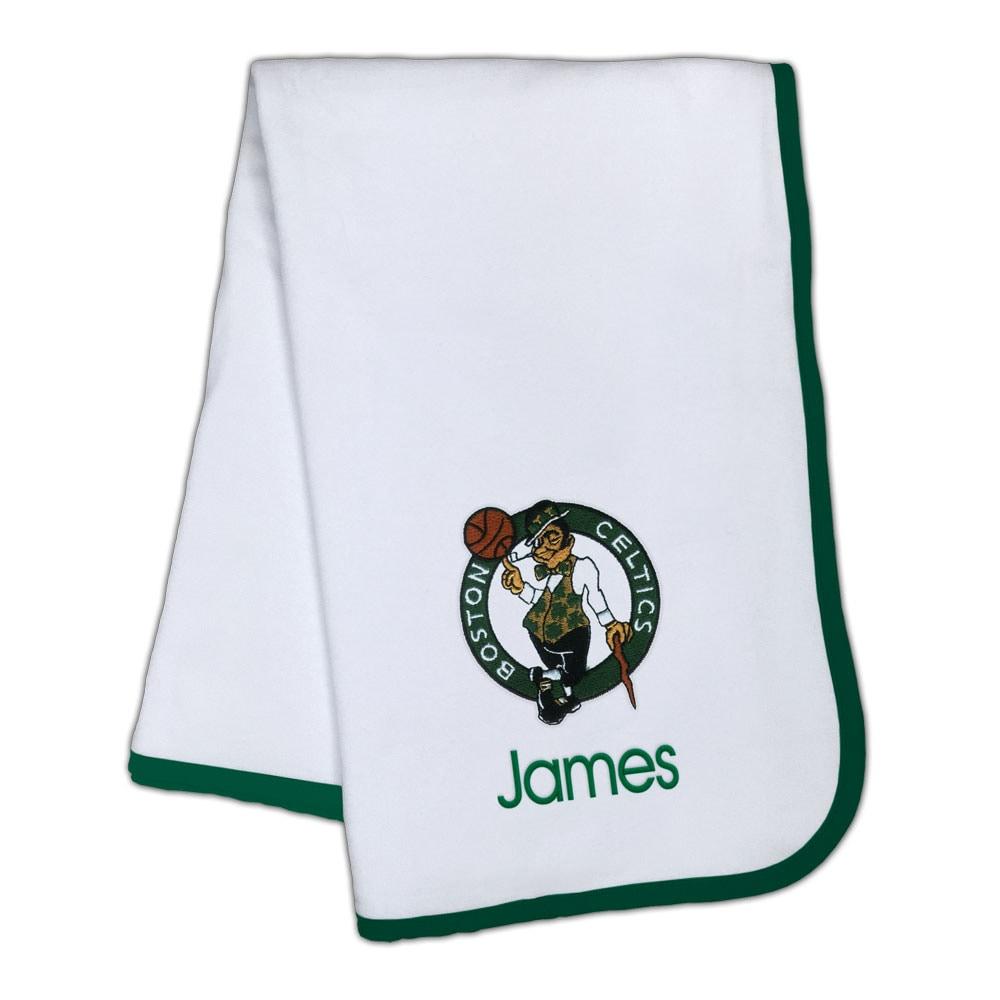 Boston Celtics Infant Personalized Blanket - White