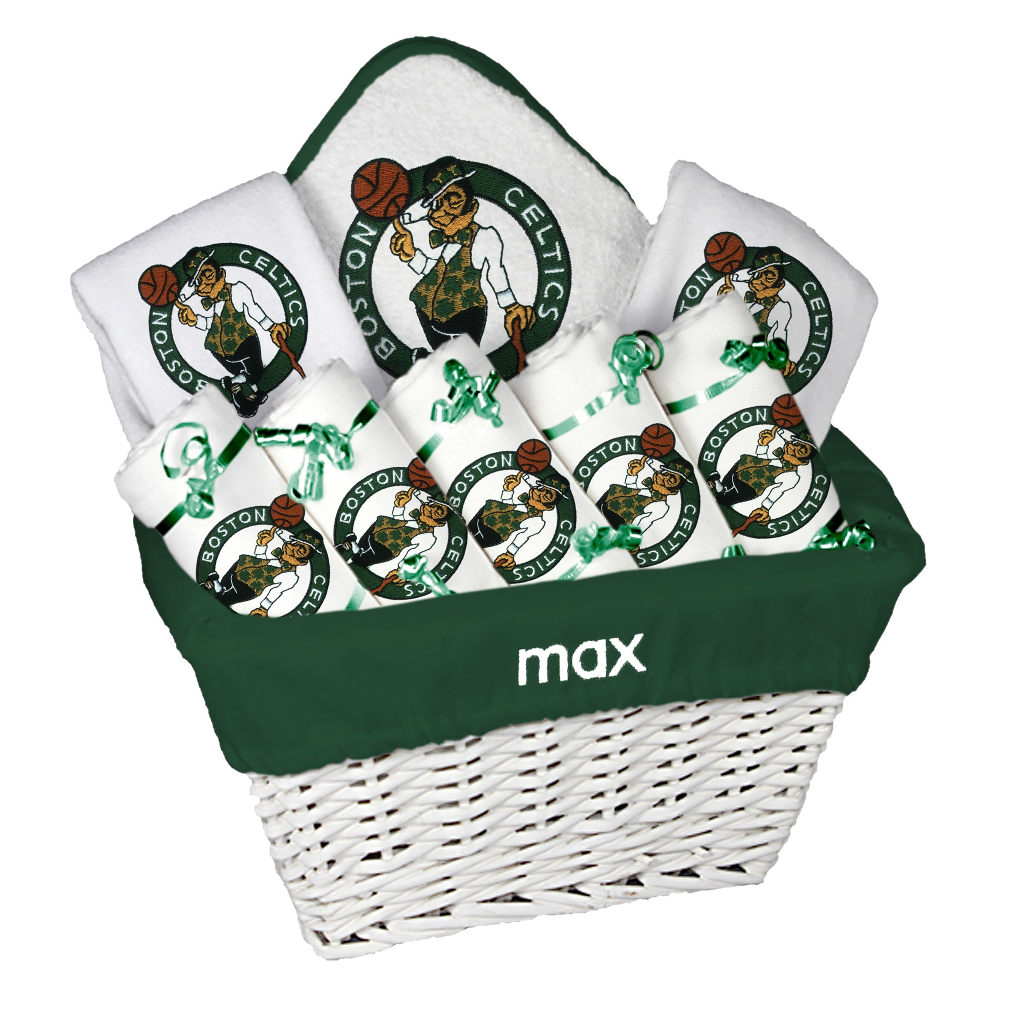 Boston Celtics Newborn & Infant Personalized Large Gift Basket - White