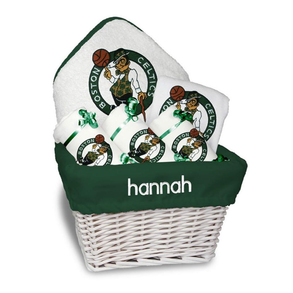 Boston Celtics Newborn & Infant Personalized Medium Gift Basket - White