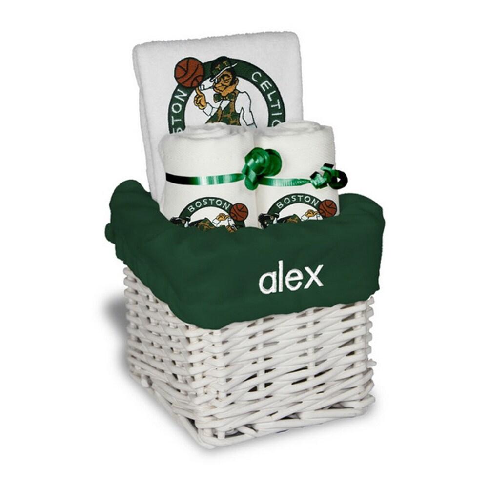 Boston Celtics Personalized Small Gift Basket - White