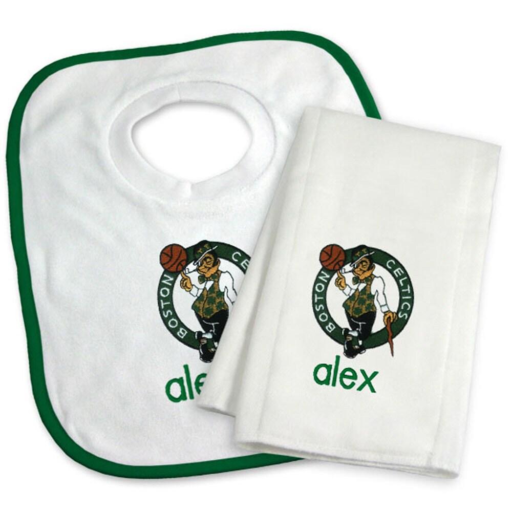 Boston Celtics Newborn & Infant Personalized Bib & Burp Cloth Set - White