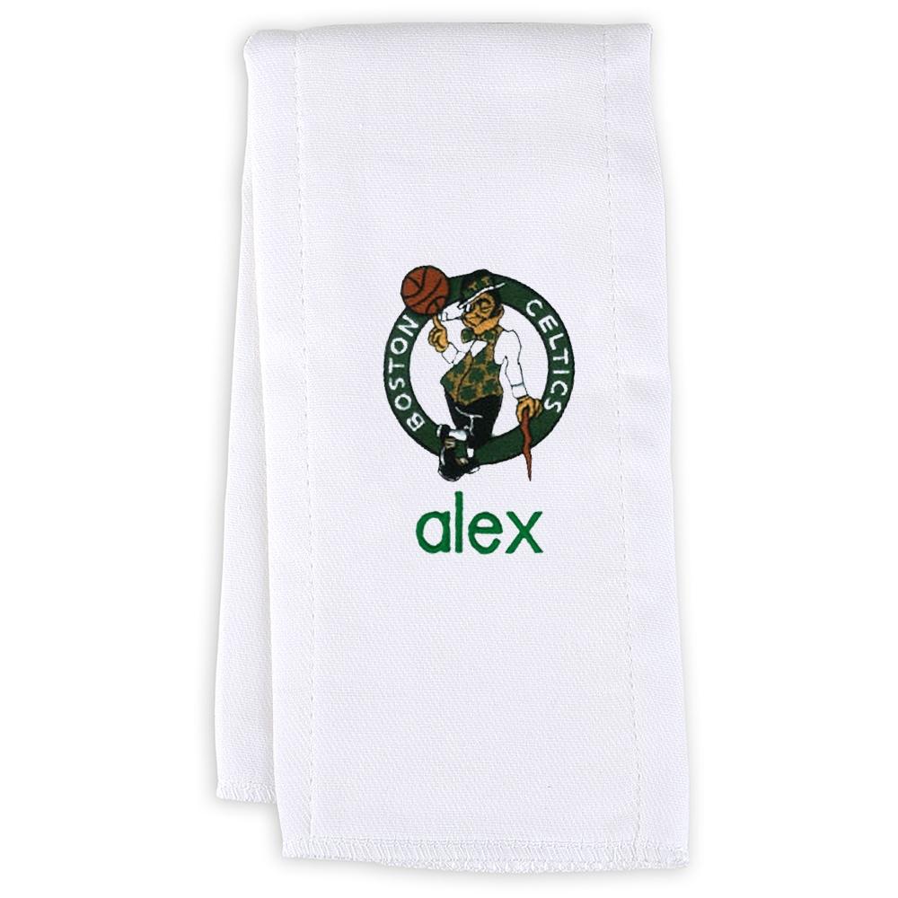 Boston Celtics Infant Personalized Burp Cloth - White