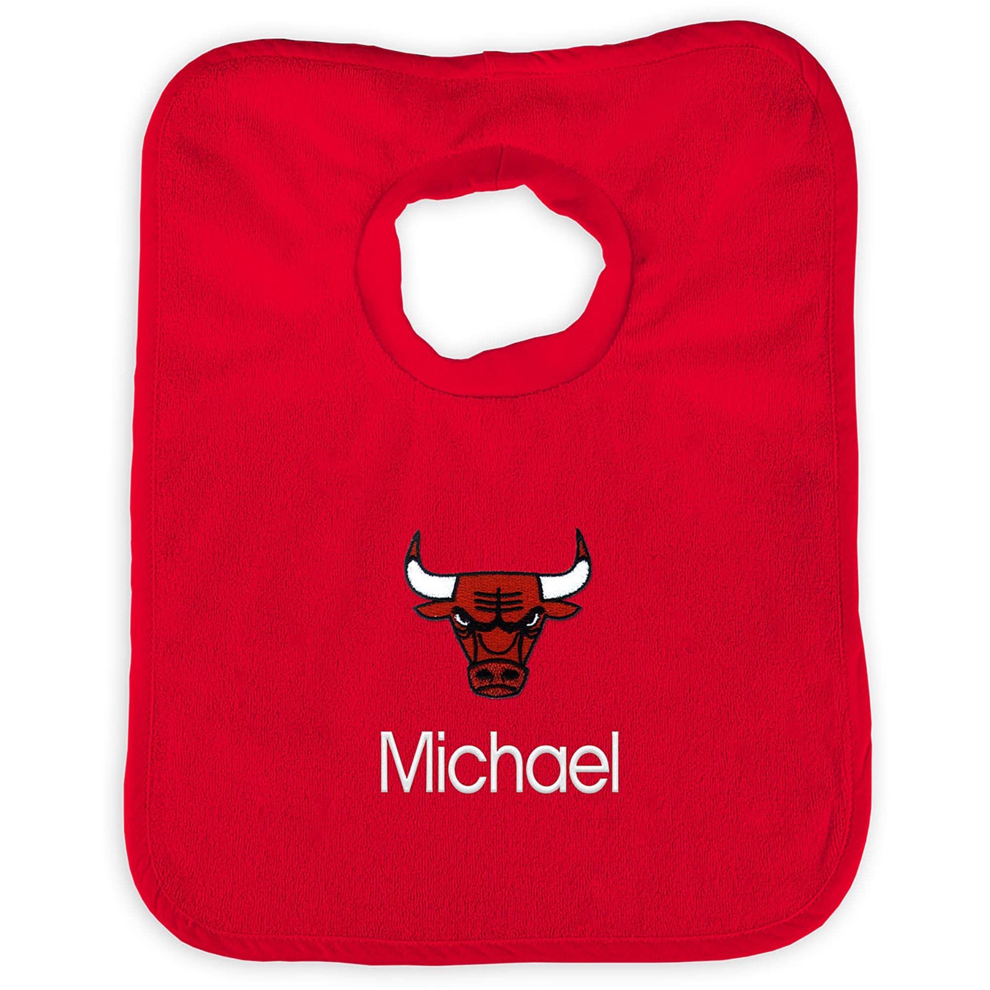 Chicago Bulls Infant Personalized Bib - Black