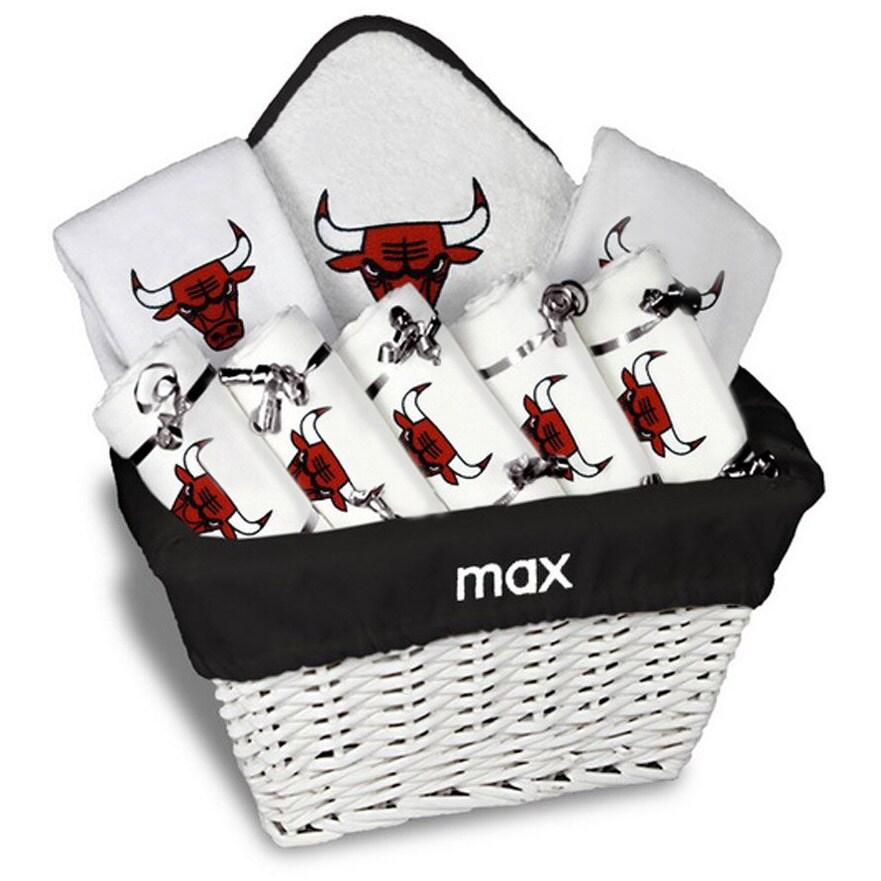 Chicago Bulls Newborn & Infant Personalized Large Gift Basket - White