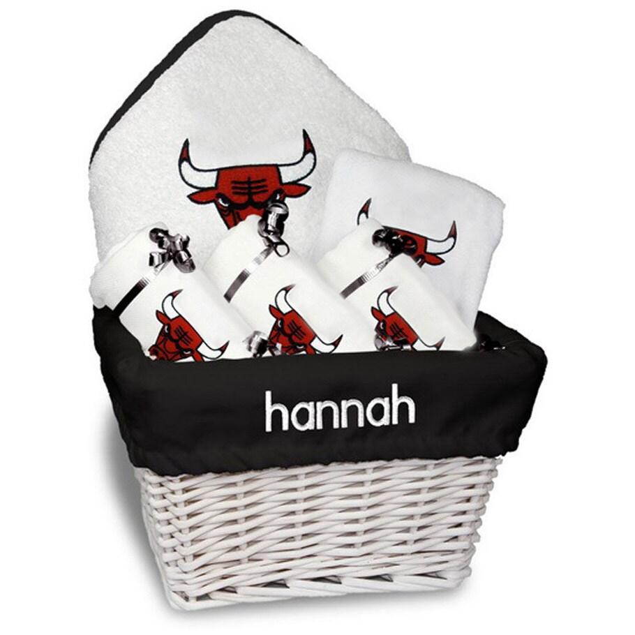 Chicago Bulls Newborn & Infant Personalized Medium Gift Basket - White