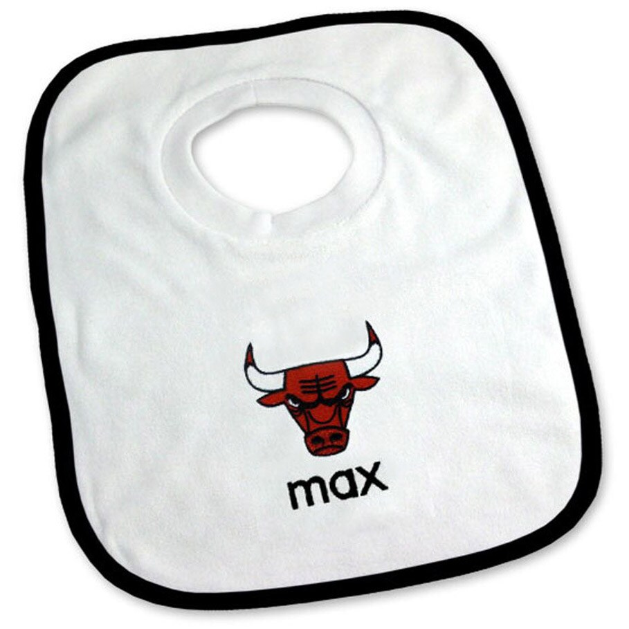 Chicago Bulls Newborn & Infant Personalized Bib - White