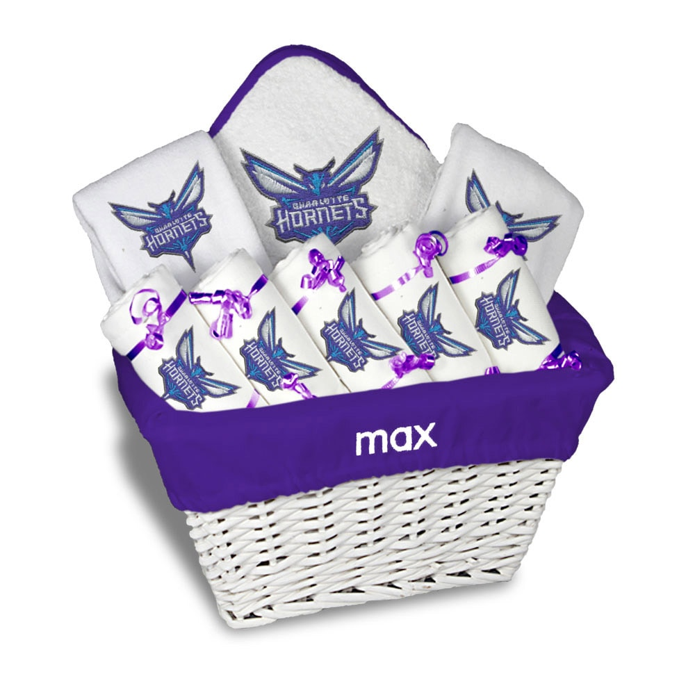 Charlotte Hornets Newborn & Infant Personalized Large Gift Basket - White