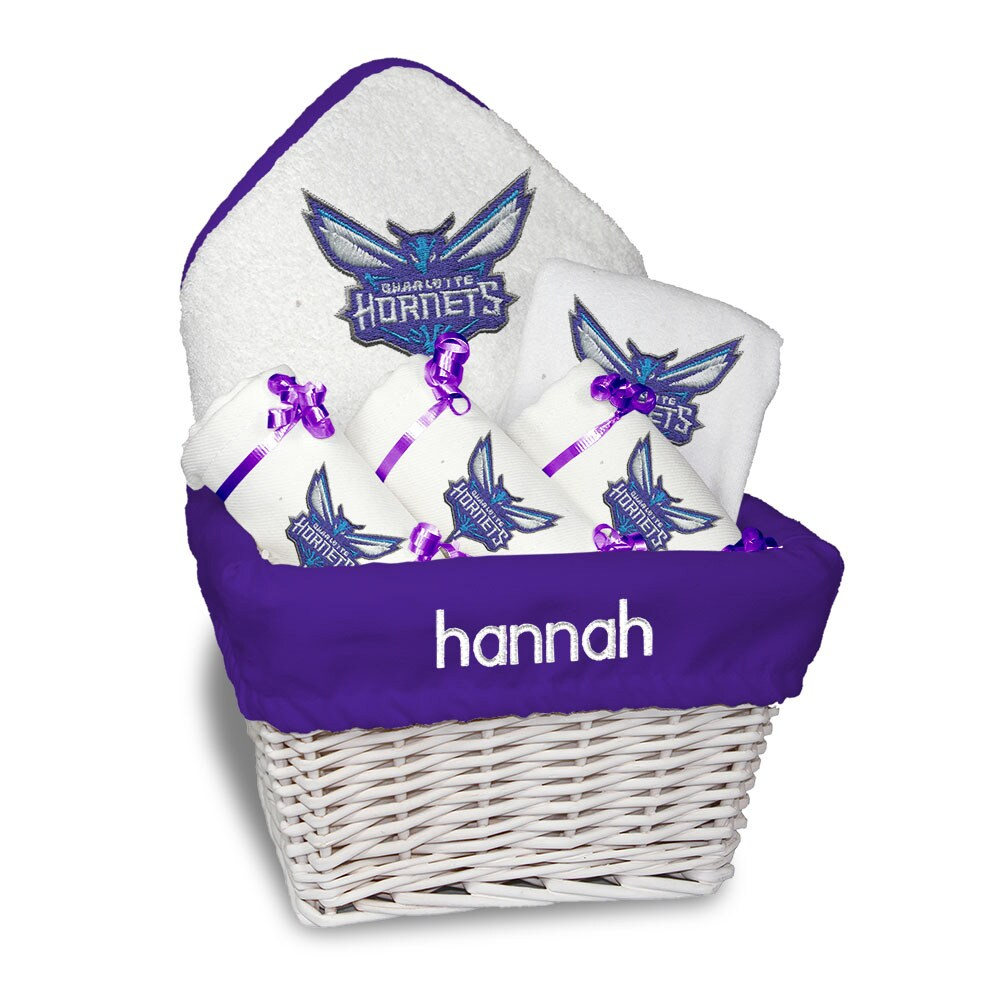 Charlotte Hornets Newborn & Infant Personalized Medium Gift Basket - White