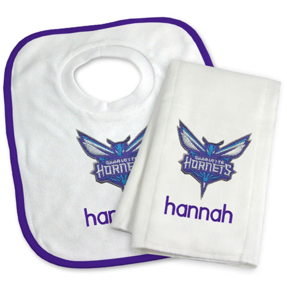 Charlotte Hornets Newborn & Infant Personalized Bib & Burp Cloth Set - White