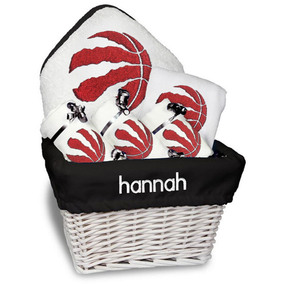 Toronto Raptors Newborn & Infant Personalized Medium Gift Basket - White