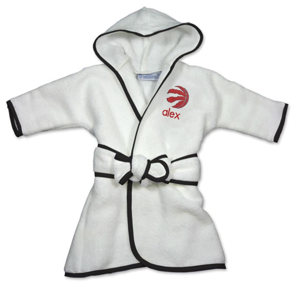 Toronto Raptors Infant Personalized Robe - White