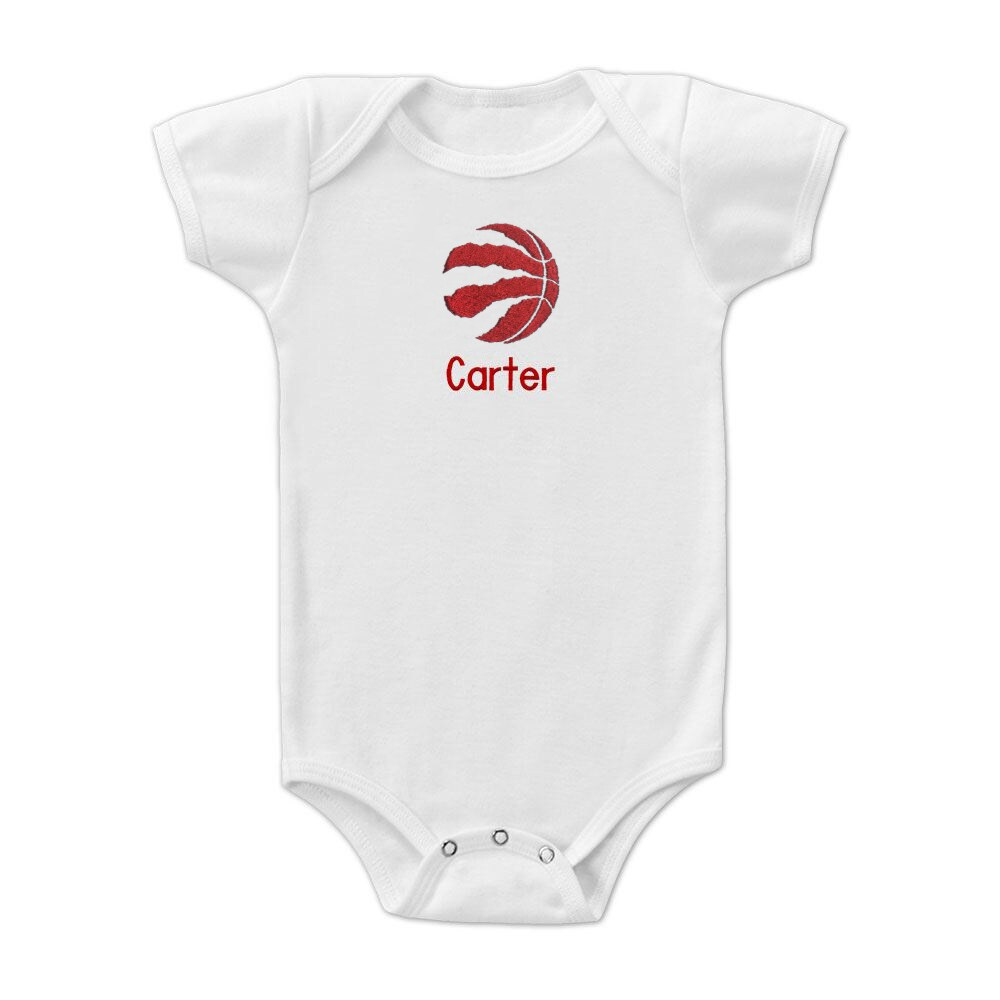Toronto Raptors Infant Personalized Bodysuit - White