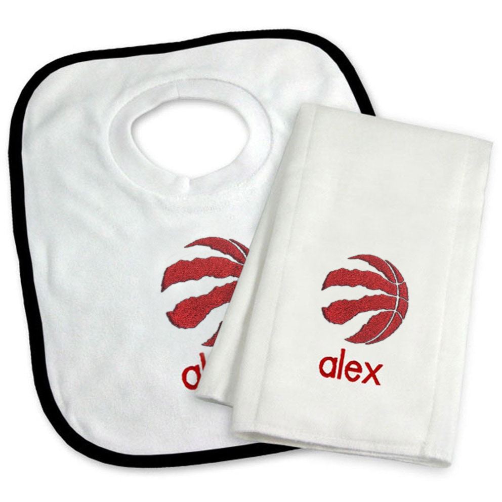 Toronto Raptors Newborn & Infant Personalized Bib & Burp Cloth Set - White