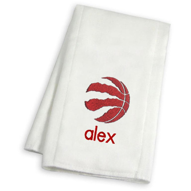 Toronto Raptors Infant Personalized Burp Cloth - White