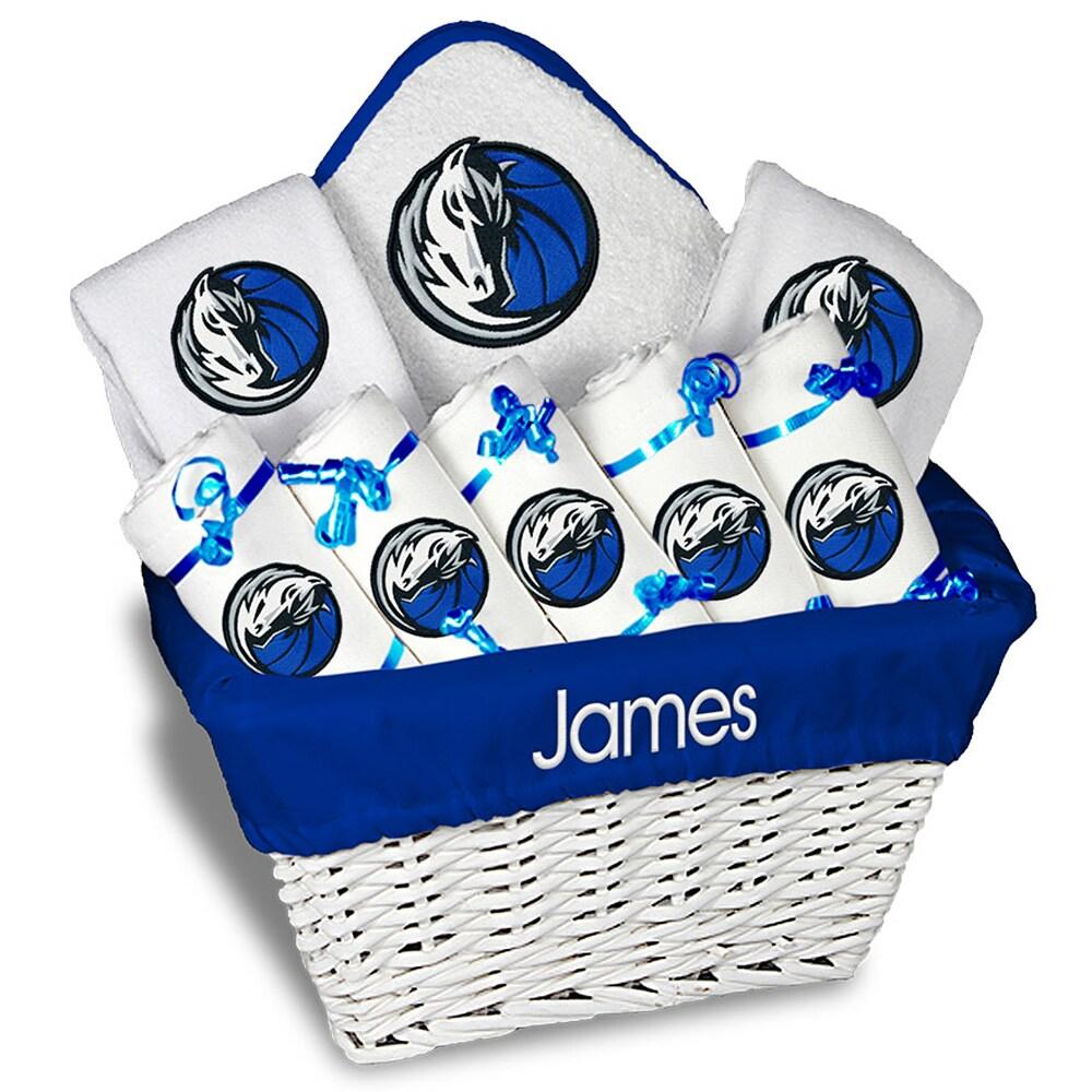 Dallas Mavericks Newborn & Infant Personalized Large Gift Basket - White
