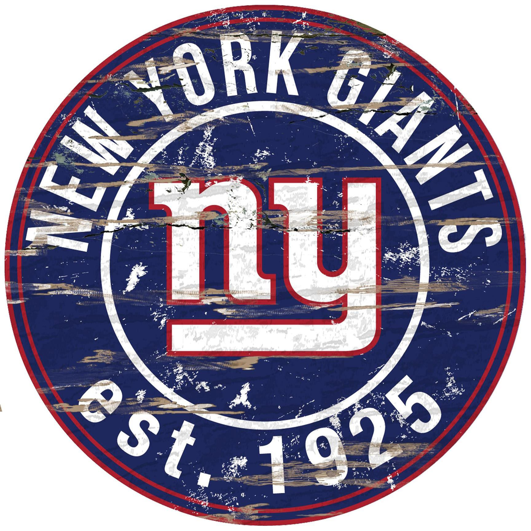 """New York Giants 23.5"""" Distressed Round Sign"""