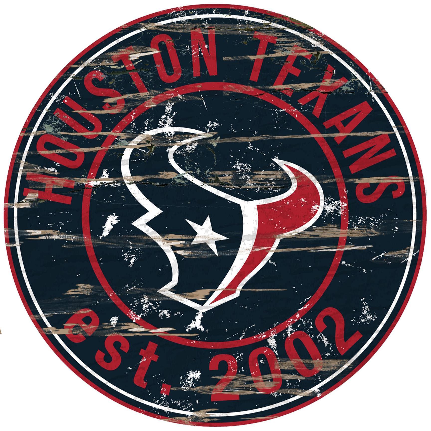 "Houston Texans 23.5"" Distressed Round Sign"