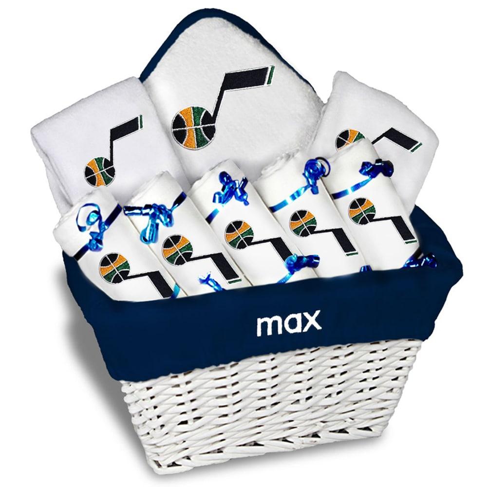Utah Jazz Newborn & Infant Personalized Large Gift Basket - White