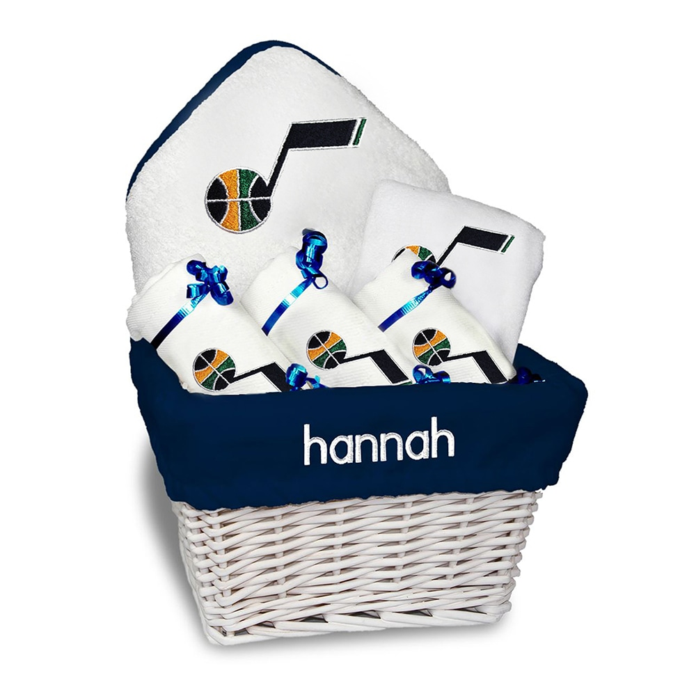 Utah Jazz Newborn & Infant Personalized Medium Gift Basket - White