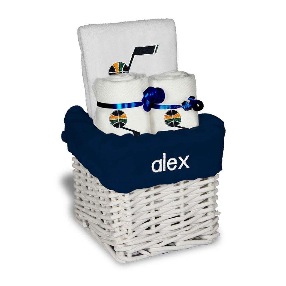Utah Jazz Personalized Small Gift Basket - White