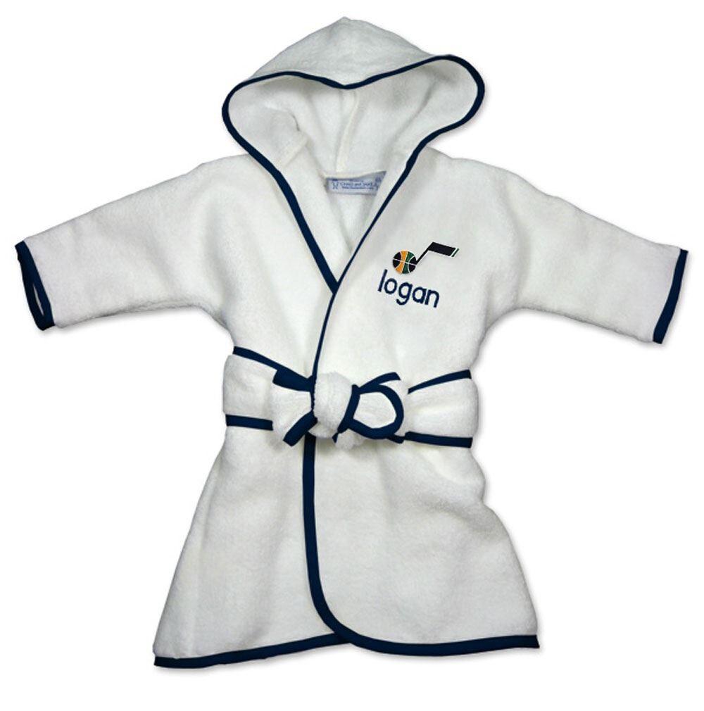 Utah Jazz Infant Personalized Robe - White