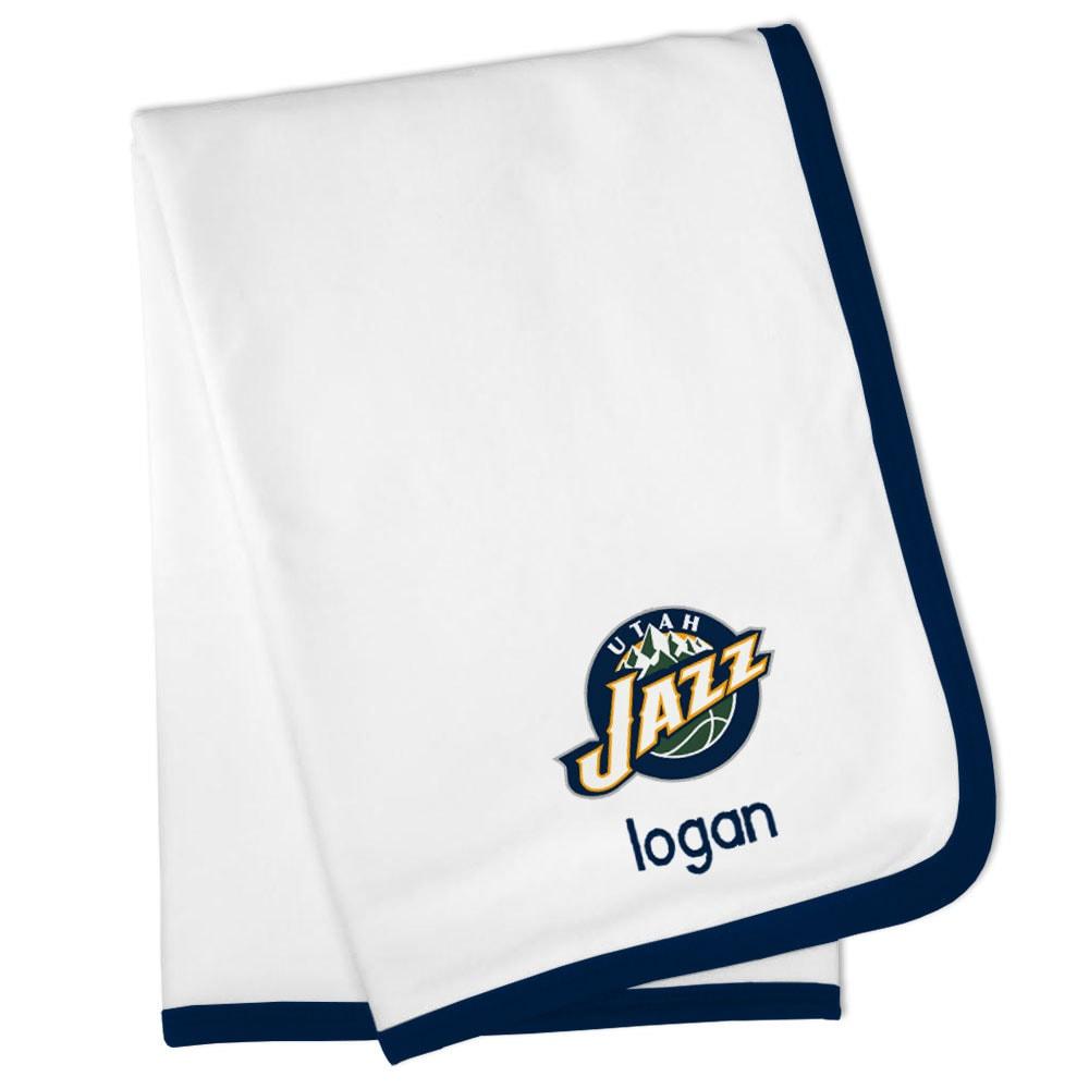 Utah Jazz Personalized Baby Blanket - White