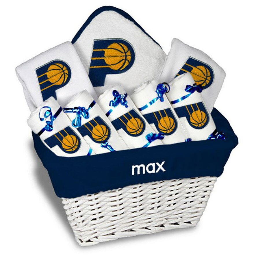 Indiana Pacers Newborn & Infant Personalized Large Gift Basket - White