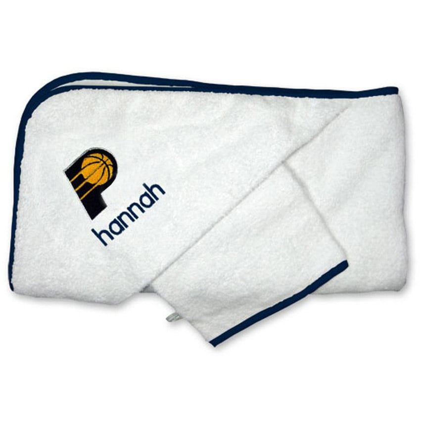 Indiana Pacers Infant Personalized Hooded Towel & Mitt Set - White