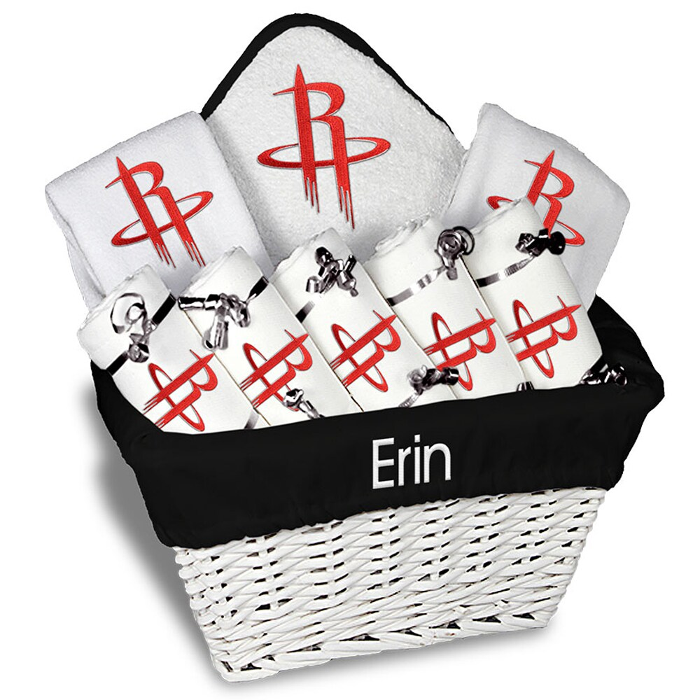 Houston Rockets Newborn & Infant Personalized Large Gift Basket - White