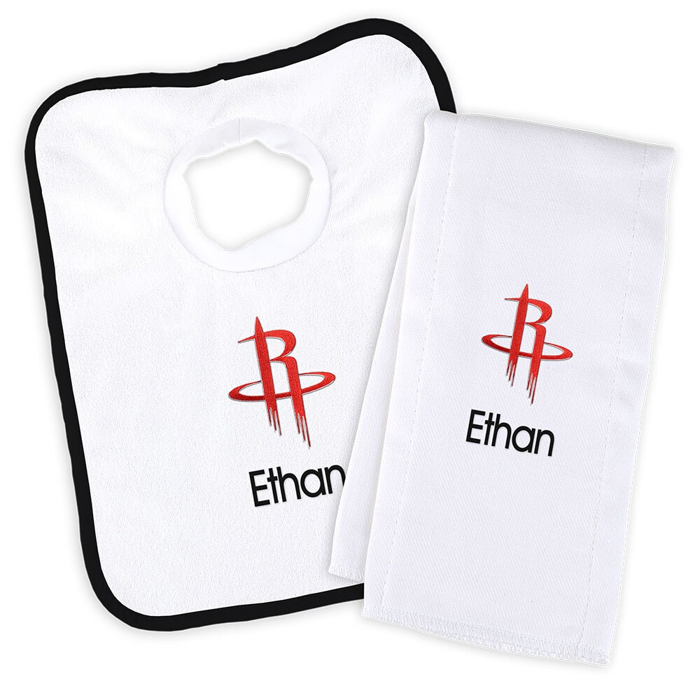 Houston Rockets Newborn & Infant Personalized Bib & Burp Cloth Set - White